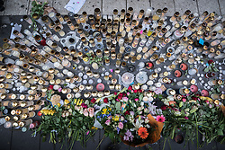 10 April 2017, Stockholm, Sweden: Commemoration of the victims of terror, on Drottninggatan (Queen Street) in central Stockholm, three days after a lorry was driven into a store in central Stockholm, killing at least four people and injuring many more.