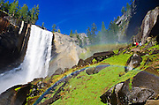 Vernal Falls and hikers on the Mist Trail, Yosemite National Park, California