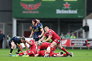 Dylan Evans of the Scarlets © passes the ball. Guinness Pro12 rugby match, Scarlets v Munster at the Parc y Scarlets in Llanelli, West Wales on Saturday 3rd September 2016.<br /> pic by  Andrew Orchard, Andrew Orchard sports photography.
