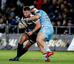 Scott Otten of Ospreys under pressure from D'arcy Rae of Glasgow Warriors<br /> <br /> 2nd November, Liberty Stadium , Swansea, Wales ; Guinness pro 14's Ospreys Rugby v Glasgow Warriors ;  <br /> <br /> Credit: Simon King/News Images<br /> <br /> Photographer Simon King/Replay Images<br /> <br /> Guinness PRO14 Round 8 - Ospreys v Glasgow Warriors - Friday 2nd November 2018 - Liberty Stadium - Swansea<br /> <br /> World Copyright © Replay Images . All rights reserved. info@replayimages.co.uk - http://replayimages.co.uk