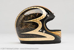 Alex Hamilton's helmet from the Old Iron - Young Blood exhibition in the Motorcycles as Art gallery at the Buffalo Chip during the annual Sturgis Black Hills Motorcycle Rally. Sturgis, SD. USA. Tuesday August 8, 2017. Photography ©2017 Michael Lichter.