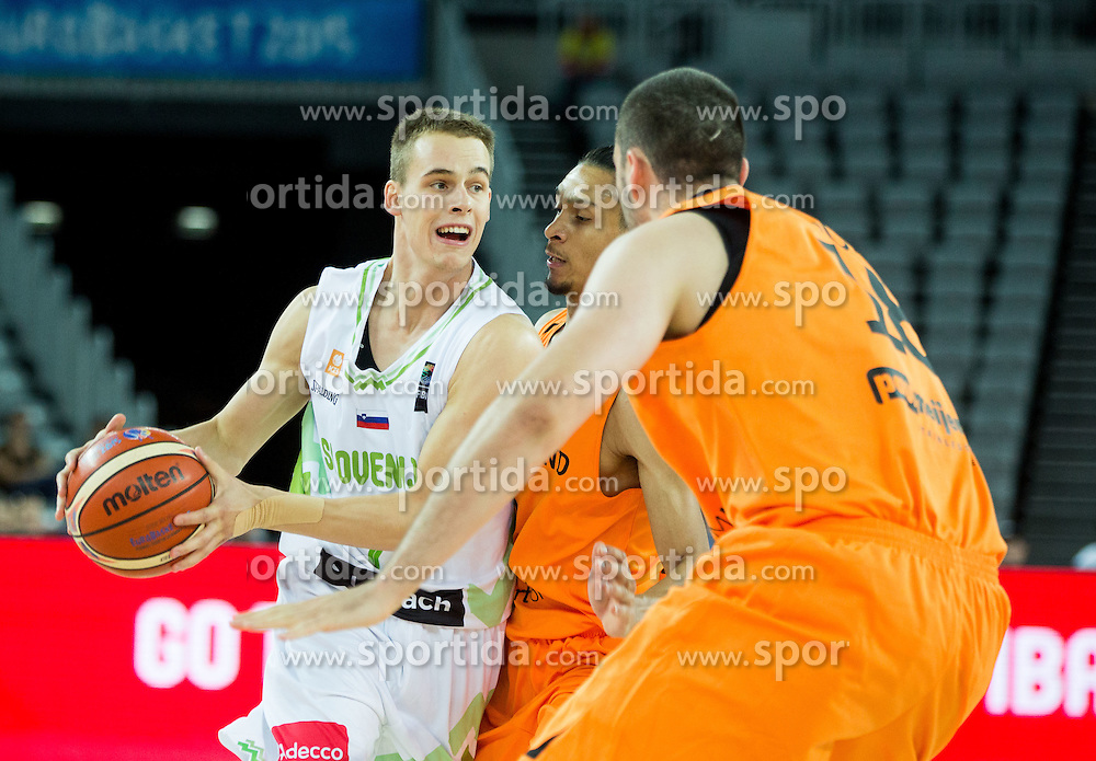 Klemen Prepelic of Slovenia vs Worthy de Jong of Netherlands during basketball match between Slovenia vs Netherlands at Day 4 in Group C of FIBA Europe Eurobasket 2015, on September 8, 2015, in Arena Zagreb, Croatia. Photo by Vid Ponikvar / Sportida