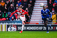 Kieran Sadlier of Doncaster Rovers (22) hits a shot from outside the box during the The FA Cup fourth round match between Doncaster Rovers and Oldham Athletic at the Keepmoat Stadium, Doncaster, England on 26 January 2019.