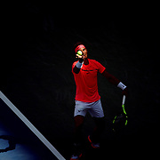 2017 U.S. Open Tennis Tournament - DAY EIGHT. Rafael Nadal of Spain serving out of the shadow and into the sun during his match against Alexandr Dolgopolov of the Ukraine in the Men's Singles round four match at the US Open Tennis Tournament at the USTA Billie Jean King National Tennis Center on September 04, 2017 in Flushing, Queens, New York City.  (Photo by Tim Clayton/Corbis via Getty Images)