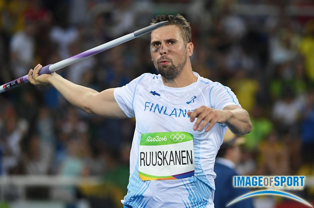 Aug 17, 2016; Rio de Janeiro, Brazil; Antti Ruuskanen (FIN) during the men's javelin throw qualifying round in the Rio 2016 Summer Olympic Games at Estadio Olimpico Joao Havelange.