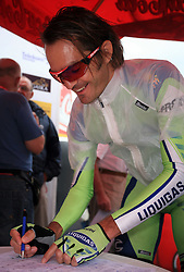 Gorazd Stangelj of Slovenia (Liquigas) signing the start list before 3rd stage of the 15th Tour de Slovenie from Skofja Loka to Krvavec (129,5 km), on June 13,2008, Slovenia. (Photo by Vid Ponikvar / Sportal Images)/ Sportida)
