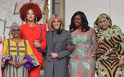 Exclusive - France's first lady Brigitte Macron welcomes Congo's first lady Denise Nyakeru Tshisekedi, Mali's first lady Keïta Aminata Maiga, Sierra Leone's first lady Fatima Maada Bio, Liberia's first lady Clar Weah, Niger's first lady Lalla Malika Issoufou, Cameroun's first lady Chantal Biya, Tchad's first lady Hinda Deby Itno at the Elysee presidential palace in Paris, France, on November 12, 2019. Photo by Christian Liewig/ABACAPRESS.COM