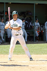 14 April 2013:  A.J. Nathan bats during an NCAA division 3 College Conference of Illinois and Wisconsin (CCIW) Baseball game between the Elmhurst Bluejays and the Illinois Wesleyan Titans in Jack Horenberger Stadium, Bloomington IL