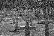 Battle of Belleau Wood (  bois de Brigade de Marine ) WW1, Aisne-Marne American Cemetery and Memorial,Belleau France. March 2014<br /> Seen here:  A new water sprinkling system being test in the cemetery.<br /> <br /> The Aisne-Marne American Cemetery and Memorial is a 42-acre (17 ha) World War I cemetery in Belleau, Northern France. It is at the foot of the hill where the Battle of Belleau Wood was fought, with many American fatalities. The cemetery also contains burials from the Battle of Château-Thierry, later that summer. There are 2,288 burials in the cemetery, 251 of which contain unknown remains.<br /> The names of 1,060 soldiers missing in action are inscribed on the Chapel's walls.<br /> <br /> <br /> The Battle of Belleau Wood (1–26 June 1918) occurred during the German 1918 Spring Offensive in World War I, near the Marne River in France. The battle was fought between the U.S. Second (under the command of Major General Omar Bundy) and Third Divisions and an assortment of German units including elements from the 237th, 10th, 197th, 87th, and 28th Divisions.[2] The battle has become a deep part of the lore of the United States Marine Corps.<br /> In March 1918, with nearly 50 additional divisions freed by the Russian surrender on the Eastern Front, the German Army launched a series of attacks on the Western Front, hoping to defeat the Allies before U.S. forces could be fully deployed. A third offensive launched in May against the French between Soissons and Reims, known as the Third Battle of the Aisne, saw the Germans reach the north bank of the Marne river at Château-Thierry, 95 kilometres (59 mi) from Paris, on 27 May. On 31 May, the 3rd Division held the German advance at Château-Thierry and the German advance turned right towards Vaux and Belleau Wood.[3]<br /> <br /> On 1 June, Château-Thierry and Vaux fell, and German troops moved into Belleau Wood. The U.S. 2nd Division—which included a brigade of U.S. Marines—was brought up along the Paris-Metz high