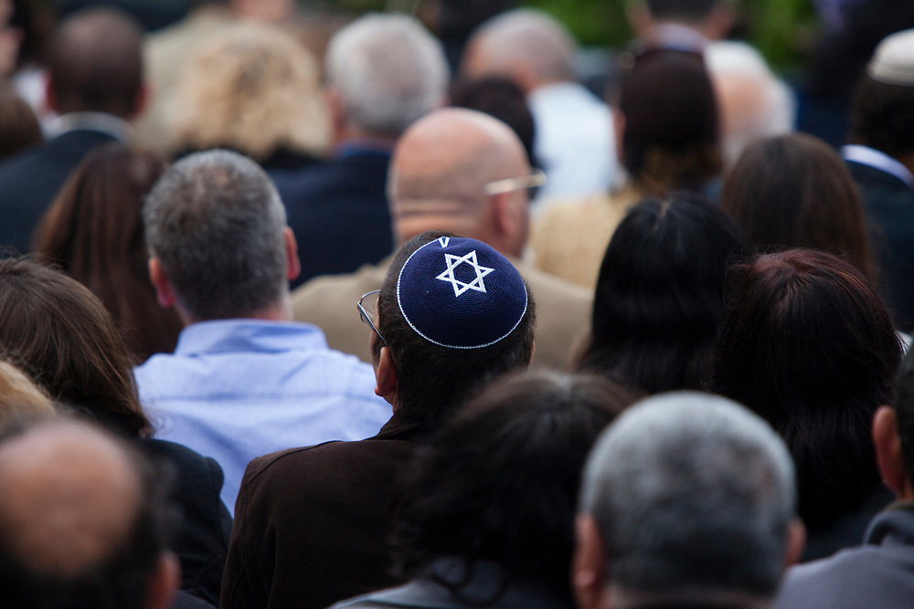 An unidentified man wears a yarmulke with the Star of David design as he attends Independence Day celebration at the Israeli President's Residence in Jerusalem, on April 16, 2013. The Jewish state celebrates its 65th Independence Day.