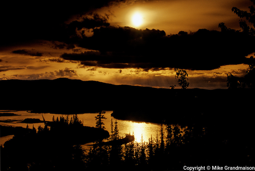Sunset along the Yukon River<br /> Five Finger Rapids<br /> Yukon<br /> Canada