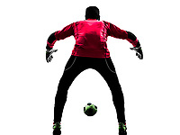 one  soccer player goalkeeper man standing rear view in silhouette isolated white background