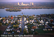 PA Landscapes, Aerial Photograph, Susquehanna River, Three Mile Island Nuclear Plant, TMI, York Haven, Pennsylvania