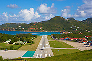 St. Barthelemy Airport runway ending in St. Jean Beach