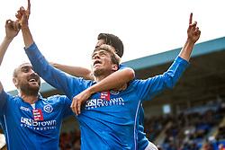 St Johnstone's Murray Davidson cele scoring their goal.<br /> St Johnstone 1 v 2 Kilmarock, SPL game played at McDrarmid Park.