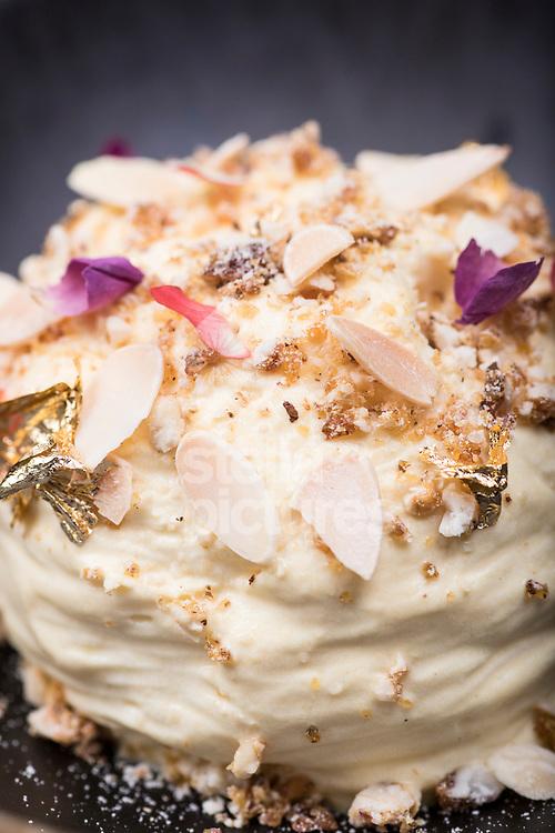 Makhan malai, saffron milk, rose petal jaggery brittle at Indian Accent restaurant, Mayfair.<br /> Picture by Daniel Hambury/Stella Pictures Ltd 07813022858<br /> 05/01/2018