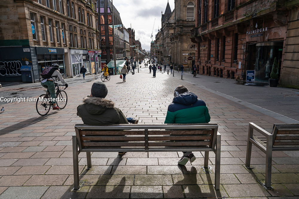Glasgow, Scotland, UK. 12 March 2021. On the day Covid-19 lockdown is relaxed slightly in Scotland the city centre streets in Glasgow city centre remain almost deserted virtually all shops ad cafes are still closed. Pic; Buchanan Street much quieter than normal. Iain Masterton/Alamy Live News