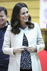 The Duchess of Cambridge meets wheelchair basketball players during a SportsAid event at the Copper Box in the Olympic Park, London.