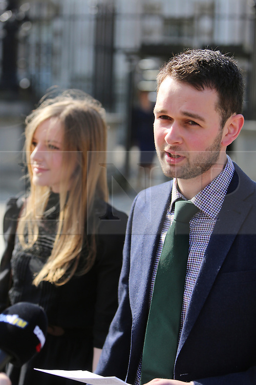 """© Licensed to London News Pictures. 9/05/2016. Belfast, Northern Ireland, UK. Daniel McArthur from Ashers Baking Company speaks to the media before entering Belfast High Court for the start Appeal hearing over gay marriage cake row with Ashers Baking Company.  The legal appeal by Ashers Baking Company in the controversial 'gay cake' case is to be heard over two days. In May last year a judge at Belfast County Court ruled that the bakery had acted unlawfully. The court ordered Ashers to pay £500 damages after Judge Isobel Brownlie said the customer had been treated """"less favourably"""" contrary to the law and the bakery had breached political and sexual orientation discrimination regulations. But the McArthur family who own and run Ashers decided to challenge the ruling following consultations with their legal advisors. The family has been given the full support of The Christian Institute, which has funded their defence costs. The legal case followed a decision in May 2014 by Ashers to decline an order placed at its Belfast store by a gay rights activist who asked for a cake featuring the Sesame Street puppets, Bert and Ernie, and the campaign slogan, 'Support Gay Marriage'. The customer also wanted the cake to feature the logo of a Belfast-based campaign group QueerSpace. Ashers, owned by Colin and Karen McArthur, refused to make the cake because it carried a message contrary to the family's firmly-held Christian beliefs. They were supported by their son Daniel, the General Manager of the company. But the Equality Commission for Northern Ireland (ECNI) launched a civil action against the family-run bakery, claiming its actions violated equality laws in Northern Ireland and alleging discrimination under two anti-discrimination statutes – The Equality Act (Sexual Orientation) Regulations (NI) 2006 and The Fair Employment and Treatment (NI) Order 1998. Photo credit : Paul McErlane/LNP"""