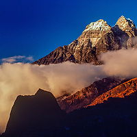Himalayan peaks rise above Lukla in the Khumbu region of Nepal's Himalaya.