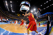 A Chinese player passes the ball to NBA Superstar China's Yao Ming during a basketball game between China and Lithuania (68-94), part of Beijing 2008 Olympics, on August 20, 2008, in Beijing, China. Lithuania won over China by 94-68. Photo by Lucas Schifres/Pictobank/Cameleon/ABACAPRESS.COM