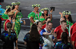Members of Team Cook Island during the Closing Ceremony for the 2018 Commonwealth Games at the Carrara Stadium in the Gold Coast, Australia.