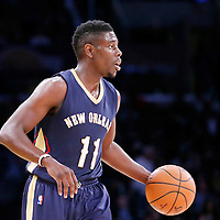 07 December 2014: New Orleans Pelicans guard Jrue Holiday (11) brings the ball up court during the New Orleans Pelicans 104-87 victory over the Los Angeles Lakers, at the Staples Center, Los Angeles, California, USA.