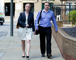 © Licensed to London News Pictures. 28/05/2015. <br /> LONDON, UK. Former UBS and Citigroup trader Tom Hayes and wife Sarah arrive at Southwark Crown Court in London. Hayes appears charged with eight counts of conspiracy to defraud in relation to alleged manipulation and rigging of the Libor rate London, Thursday 28 May 2015. Photo credit : Hannah McKay/LNP