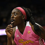 Chiney Ogwumike, Connecticut Sun, reacts to a foul call during the Connecticut Sun Vs Minnesota Lynx, WNBA regular season game at Mohegan Sun Arena, Uncasville, Connecticut, USA. 27th July 2014. Photo Tim Clayton