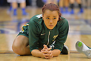 April 4, 2016; Indianapolis, Ind.; Megan Mullings stretches before the NCAA Division II Women's Basketball National Championship game at Bankers Life Fieldhouse between UAA and Lubbock Christian. The Seawolves lost to the Lady Chaps 78-73.