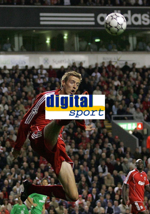 Photo: Paul Thomas.<br /> Liverpool v Maccabi Haifa. UEFA Champions League Qualifier. 09/08/2006.<br /> <br /> Peter Crouch tries to control the ball.