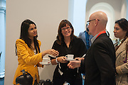 ANINDITA GHOSE; ULRIKA LOVDAHL; TERRY HARDING, Breakfast and introduction to Documenta (13), at Ständehaus<br /> Venue: Standehaus, Absolut Maybe bar area, Documenta ( 13 ), Kassel, Germany. 14 September 2012.