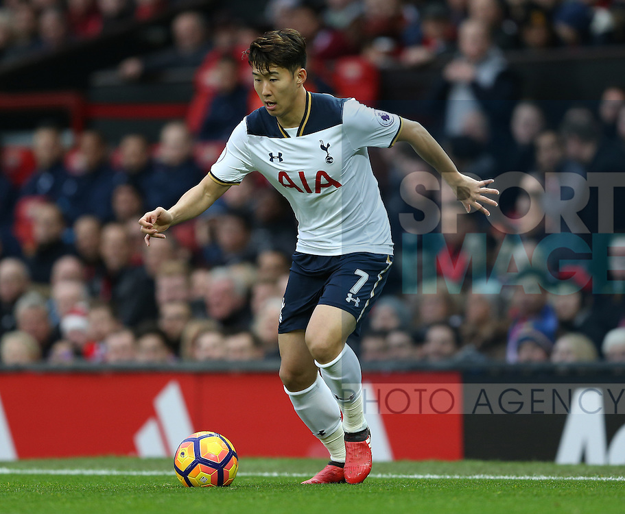 Son Heung-Min of Tottenham during the English Premier League match at Old Trafford Stadium, Manchester. Picture date: December 11th, 2016. Pic Simon Bellis/Sportimage