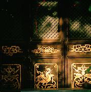 Detail of Buddhist Temple doorway, Silk Route; Dunhuang, Jiuquan, Gansu Province, China.