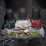 Religious offerings in the Goa Gajah (Elephant Cave) near Ubud, Indonesia.