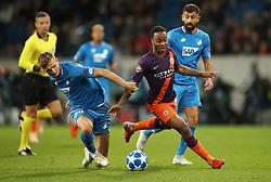 Hoffenheim's Stefan Posch (left) and Manchester City's Raheem Sterling battle for the ball