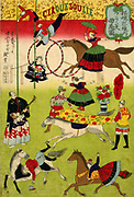 French circus in the grounds of Shokonsha shrine (Yasukuni) Tokyo, with acrobats, male and female stunt riders and trapeze artists, 1871.  Entertainment