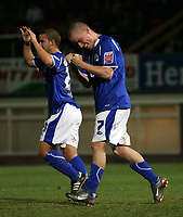 Photo: Rich Eaton.<br /> <br /> Hereford United v Leicester City. Carling Cup. 19/09/2006. Iain Hume celebrates scoring Leicesters 3rd goal, from the penalty spot after a foul on Levi Porter