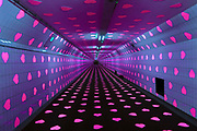 Nederland, Rotterdam, 10-2-2019 De Tunnel of Love, Kunstproject in de  Maastunnel . Duizenden roze hartjes zijn op de muren aangebracht, paarse blacklight verlichting op een zwarte vloerbedekking . De voetgangersbuis van de Maastunnel is omgetoverd tot een Tunnel of Love. Kunstenaar is Pascal Zwart, project van studio VollaersZwart, citydressing . Theatermaker Joost Maaskant is verantwoordelijk voor de uitvoering van het project . Verjaardagscadeau voor de Maastunnel, die op Valentijnsdag zijn 77e verjaardag viert.Foto: Flip Franssen