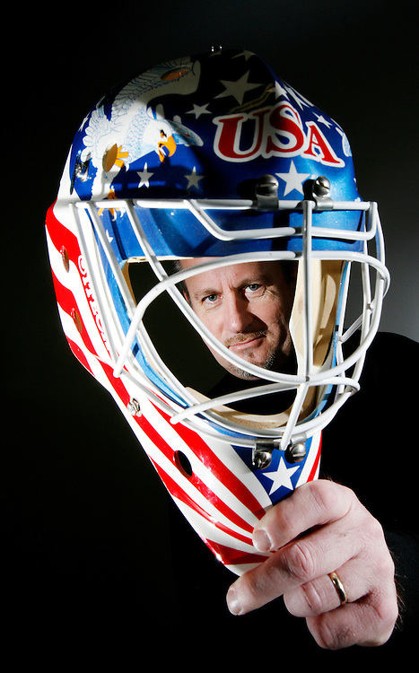 Frank Cipra, 49, holds up a mask design while in his studio in Brockville, Ontario., on Nov 27, 2007., that was the real jump start for his career. The USA designed helmet was for Ray Leblanc which he wore at the 1992 Albertville Olympics. Cipra has designed masks for many NHL goalies--upwards of 3000 in his 16 year career-- including Rick DiPietro's..USA Today/Sean Kilpatrick
