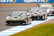 Carlito Miracco(GBR) Privateer leads a chasing pack out of the hairpin during the Millers Oil Ginetta GT4 Supercup Championship at Knockhill Racing Circuit, Dunfermline, Scotland on 15 September 2019.
