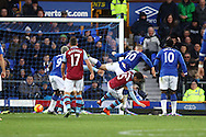 Ross Barkley of Everton (20) shoots and scores his teams 3rd goal. Barclays Premier League match, Everton v Aston Villa at Goodison Park in Liverpool on Saturday 21st November 2015.<br /> pic by Chris Stading, Andrew Orchard sports photography.