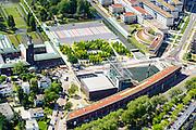 Nederland, Zuid-Holland, Rotterdam, 10-06-2015; de wijk Dijkzigt met Rochussenstraat (onder in beeld). In de voorgrond Het Nieuwe Instituut (NAi - Nederlands Architectuur Instituut) en Museum Boijmans Van Beuningen. Museum park. Rechts Sophia Kinderziekenhuis  (Erasmus MC - Sophia). <br /> Rotterdam city centre with Museum park.<br /> luchtfoto (toeslag op standard tarieven);<br /> aerial photo (additional fee required);<br /> copyright foto/photo Siebe Swart