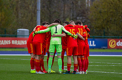 CARDIFF, WALES - Saturday, November 16, 2019: Wales players form a pre-match huddle before the UEFA Under-19 Championship Qualifying Group 5 match between Russia and Wales at the Cardiff International Sports Stadium. (Pic by Mark Hawkins/Propaganda)