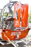 Fire department water rescue propeller driven airboat exhibit. Aquatennial Beach Bash Minneapolis Minnesota USA