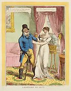 "Lodgings to Let, an 1814 engraving featuring a double entendre. He: ""My sweet honey, I hope you are to be let with the Lodgins!"" She: ""No, sir, I am to be let alone"".  A fashionably dressed man standing in a well-furnished sitting-room, speaking to a pretty and elegant young woman. He wears a tophat, Hessian boots, and carries a large rough walking-stick."