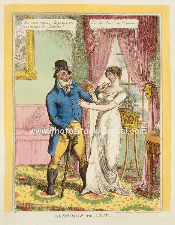 """Lodgings to Let, an 1814 engraving featuring a double entendre. He: """"My sweet honey, I hope you are to be let with the Lodgins!"""" She: """"No, sir, I am to be let alone"""".  A fashionably dressed man standing in a well-furnished sitting-room, speaking to a pretty and elegant young woman. He wears a tophat, Hessian boots, and carries a large rough walking-stick."""