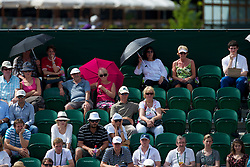 LONDON, ENGLAND - Wednesday, June 23, 2010: Empty seats on Court No. 2 as fans seek a television to watch the England football team take on Slovenia at the World Cup in South Africa, on day three of the Wimbledon Lawn Tennis Championships at the All England Lawn Tennis and Croquet Club. (Pic by David Rawcliffe/Propaganda)