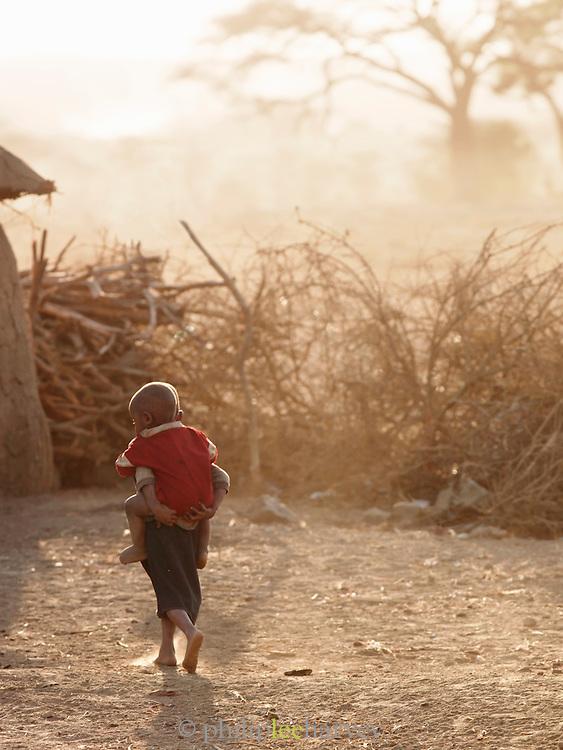 Two Maasai children in village, south-east Kenya, Kenya