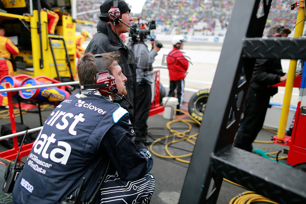 October 29, 2017 - Martinsville, Virginia, USA: Kyle Larson (42) crew member watches the First Data 500 at Martinsville Speedway in Martinsville, Virginia.